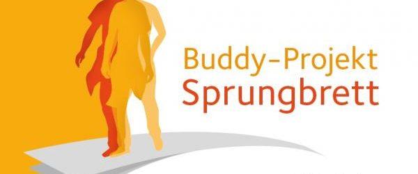 """Logo Buddyprojekt zeigt eine orange und eine gelbe menschliche Silhouette auf einem Sprungbrett. Daneben steht """"Buddy-Projekt Sprungbrett"""" und darunter befindet sich das Logo der Deutschen AIDS-Hilfe"""