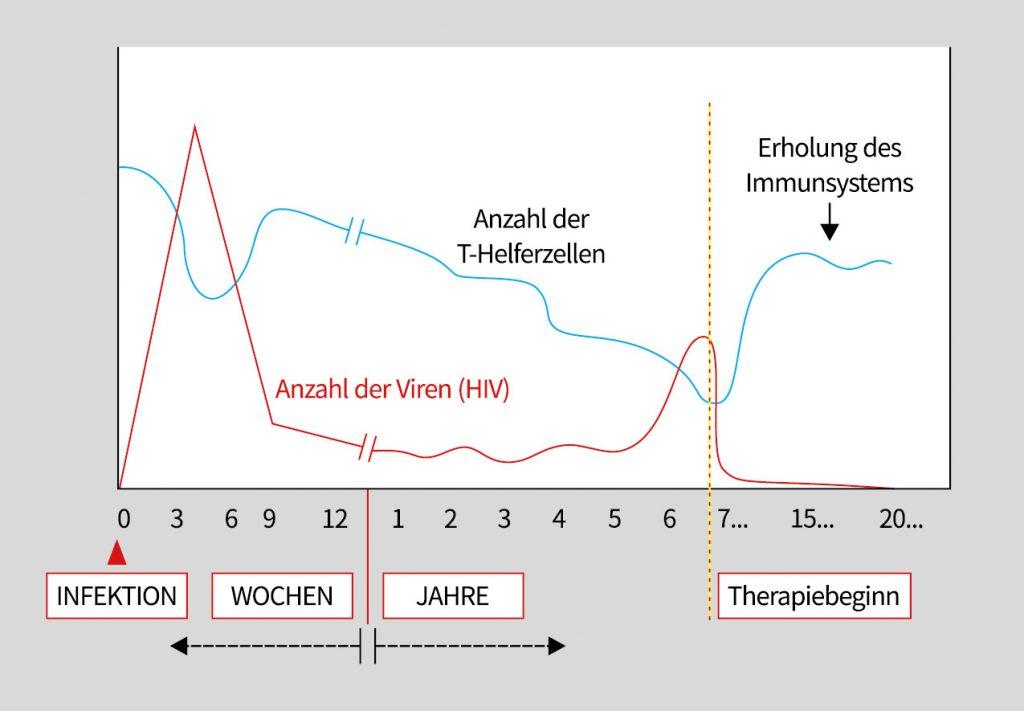 Grafik zeigt den Verlauf einer HIV-Infektion mit Behandlung mit antiretroviralen Medikamente