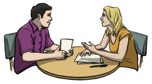 mit-sicherheit-besser-leichte-sprache-paar-unterhält-sich-an-tisch