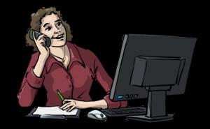 mit-sicherheit-besser-leichte-sprache-frau-sitzt-telefonierend-vor-computer