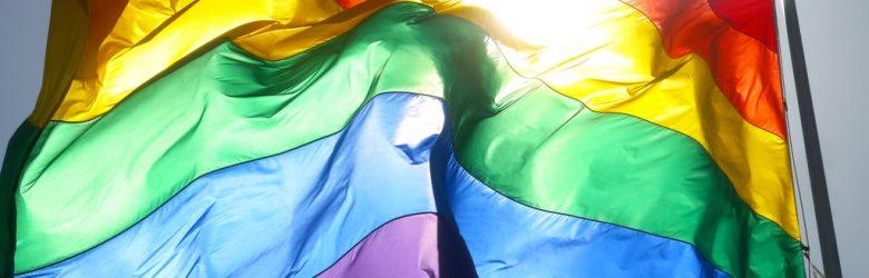 Im Wind wehende Regenbogenfahne