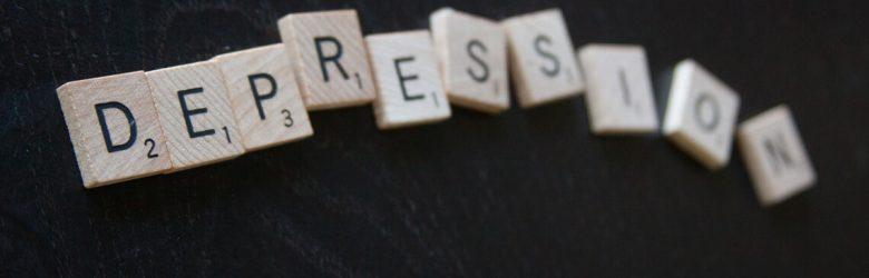 """Scrabble Lettern ergeben das Wort """"Depression"""""""