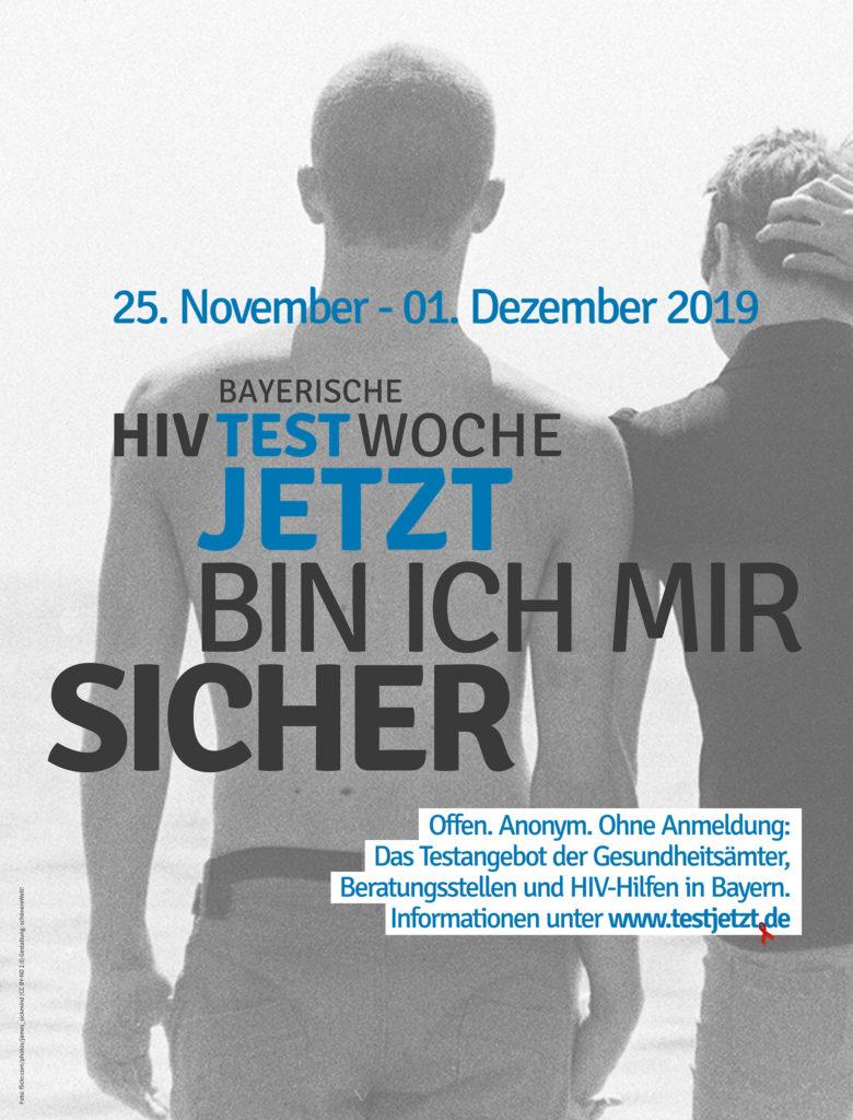 Motiv mit zwei androgynen Menschen zur bayerischen HIV-Testwoche vom 25. 11. - 11. 12. 2019