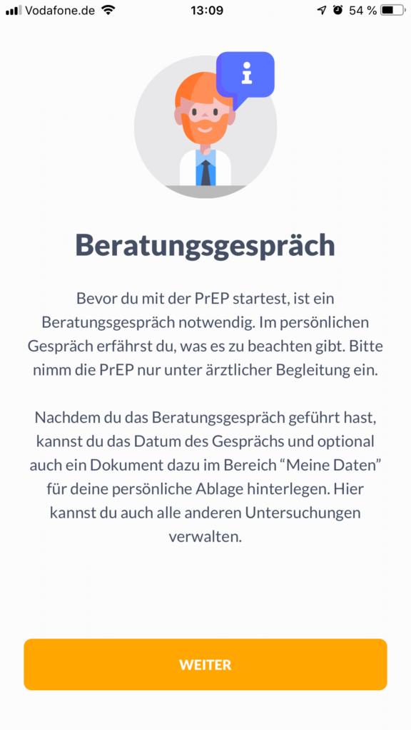 Screenshot prepared App Beratungshinweis