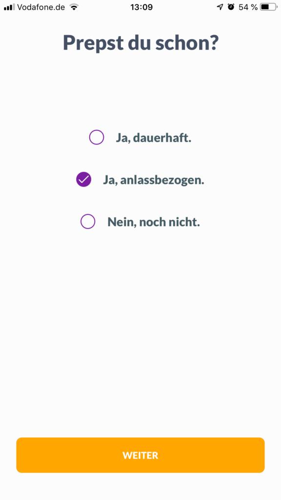 Screenshot prepared App Auswahl der Einnahme