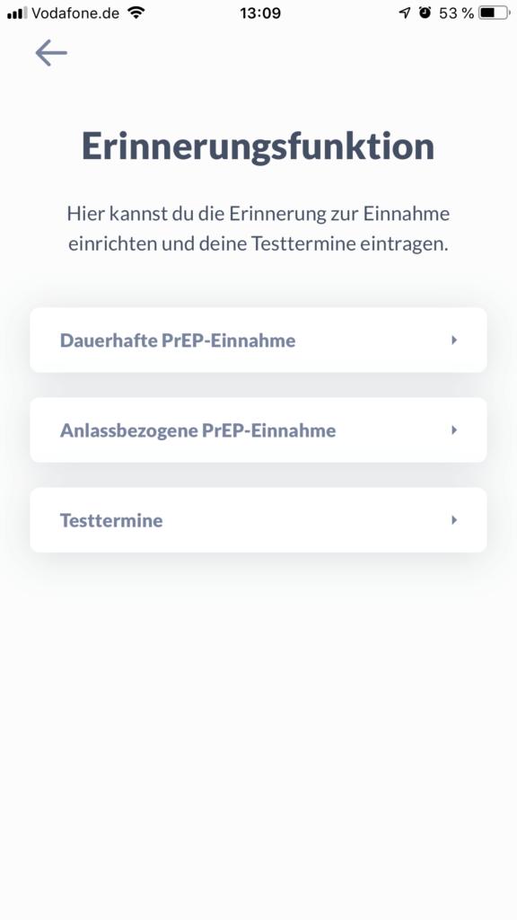 Screenshot prepared App Art der Einnahme