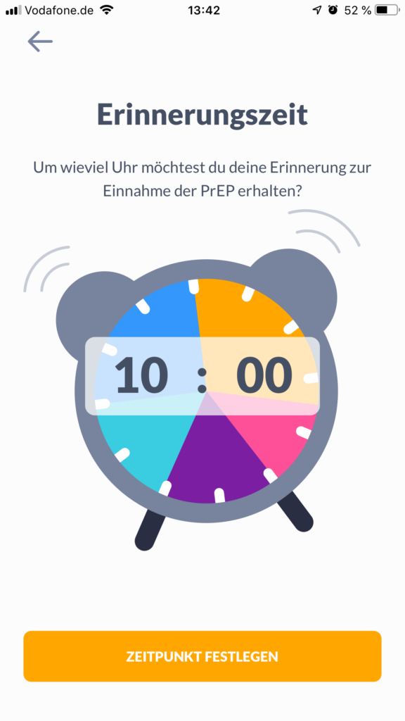 Screenshot prepared App Erinnerungsfunktion